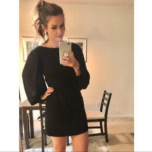 WHBM chiffon sleeve little black shift dress